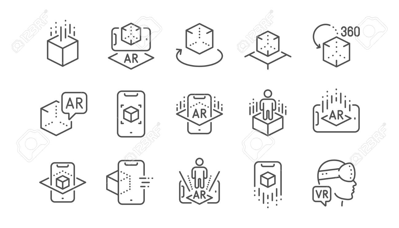 Augmented reality line icons. VR simulation, Panorama view, 360 degrees. Virtual reality gaming, augmented, full rotation arrows icons. Linear set. Vector - 126911614