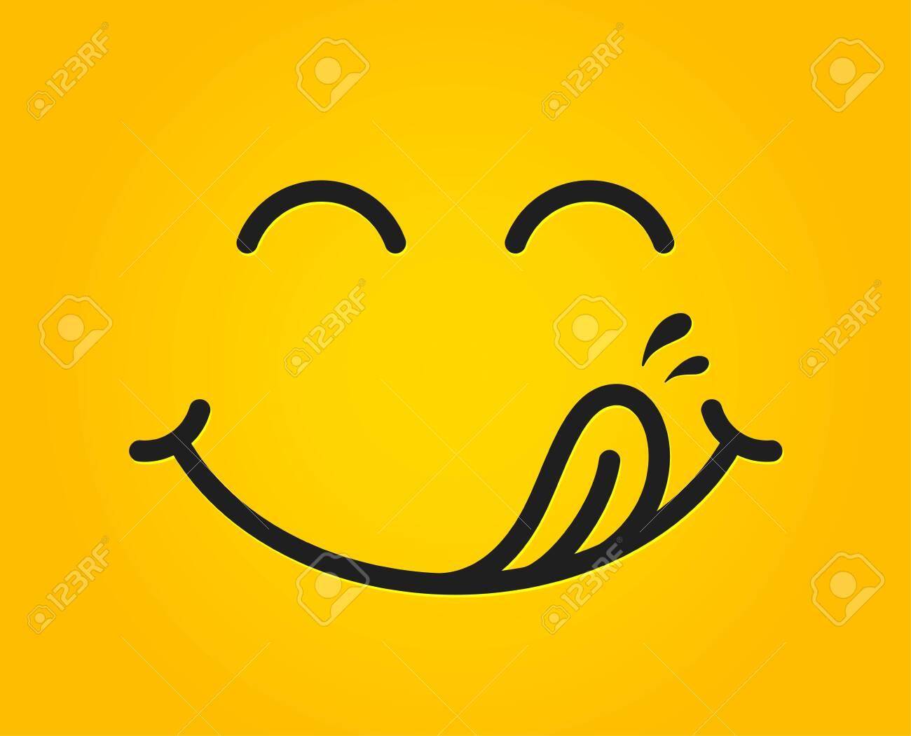 Yummy smile emoticon with tongue lick mouth. Tasty food eating emoji face. Delicious cartoon with saliva drops on yellow background. Smile face line design. Savory gourmet. Yummy vector - 127211135