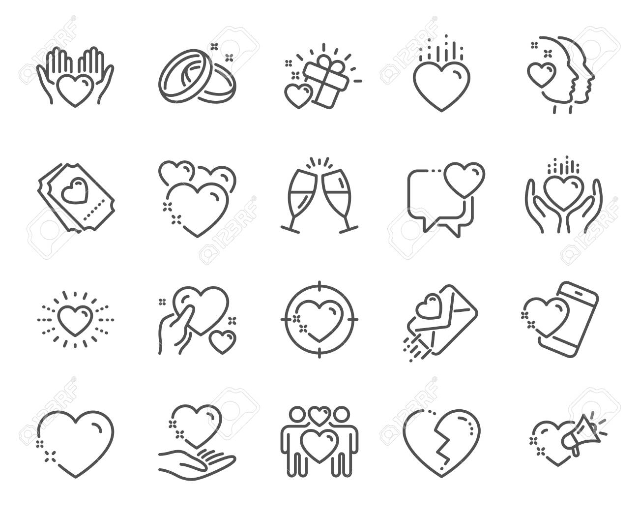 Love line icons. Gift box, Broken heart and Romantic letter. Wedding rings, glasses with champagne, love heart icons. Happy couple, heart holding, romantic loudspeaker. Quality design element. Vector - 127211156