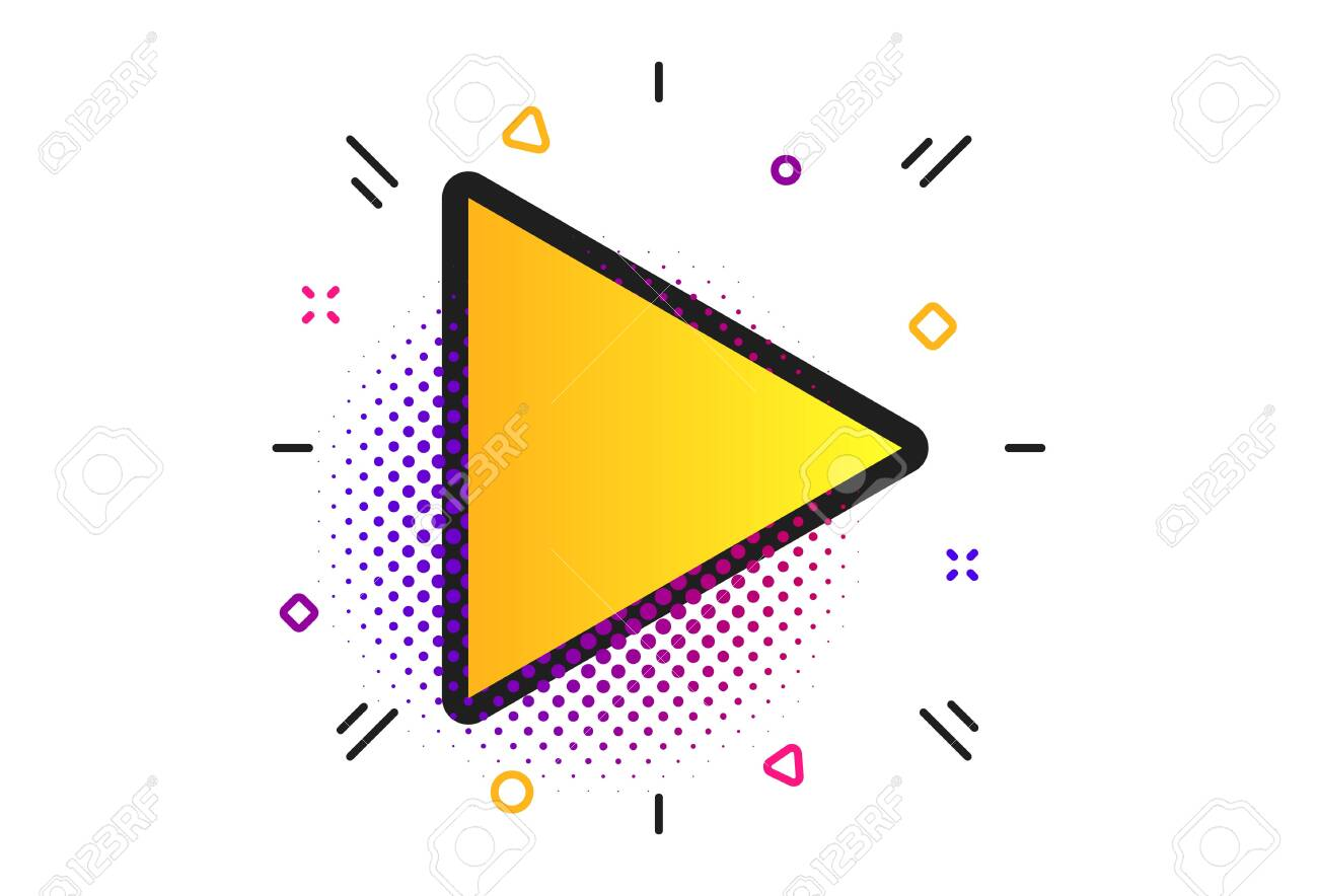 Arrow sign icon. Halftone dots pattern. Next button. Navigation symbol. Classic flat arrow icon. Vector - 128374384