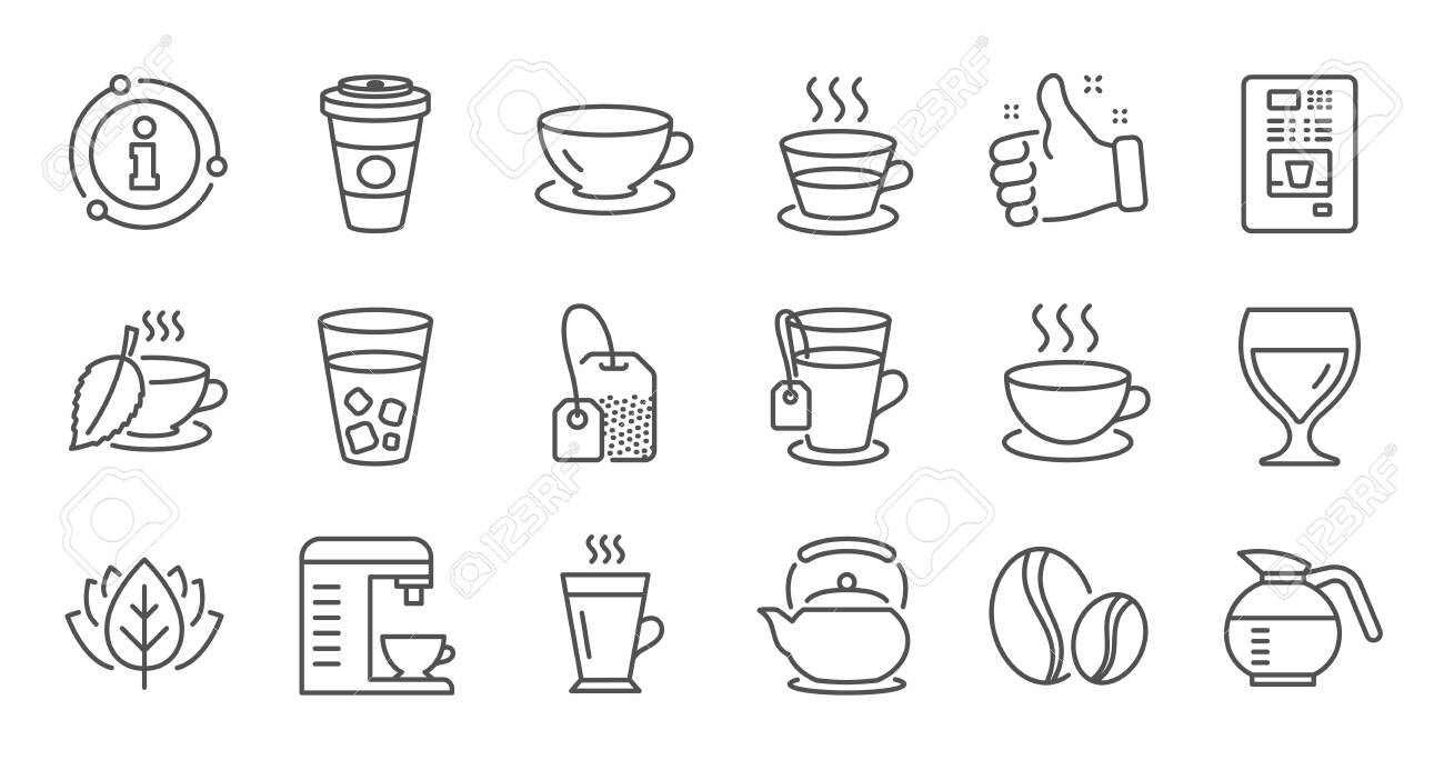 Coffee and Tea line icons. Cappuccino, Teapot and Coffeepot. Coffee beans linear icon set. Quality line set. Vector - 128733220