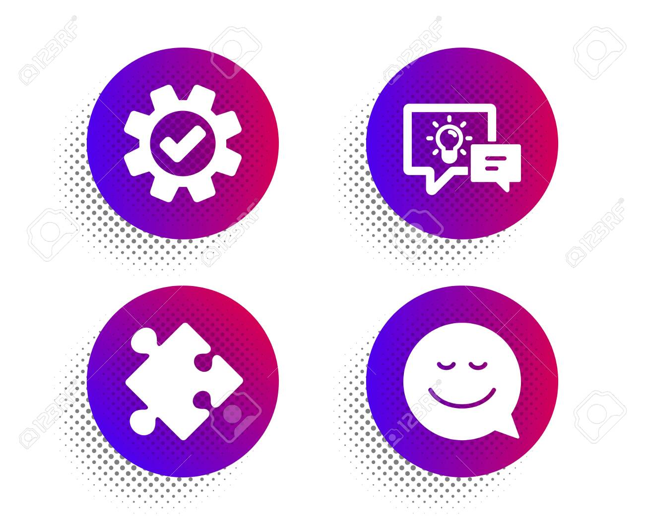 Idea lamp, Service and Strategy icons simple set. Halftone dots button. Smile sign. Business energy, Cogwheel gear, Puzzle. Chat emotion. Technology set. Classic flat idea lamp icon. Vector - 128736499