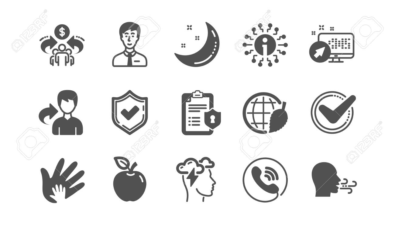Check mark, Sharing economy and Mindfulness stress icons. Privacy Policy, Social Responsibility. Classic icon set. Quality set. Vector - 128970390