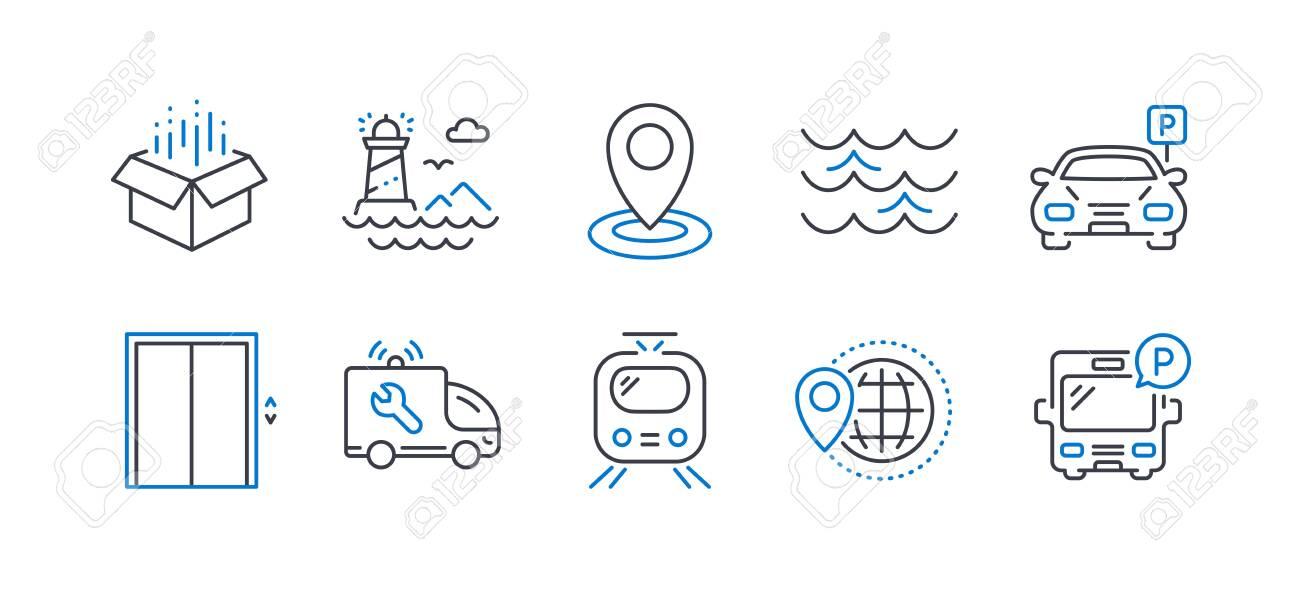 Set of Transportation icons on white - 129342502