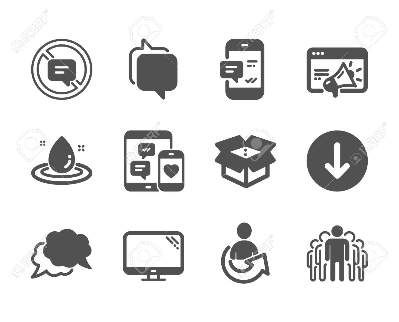 Set of Technology icons, such as Share, Stop talking, Smartphone
