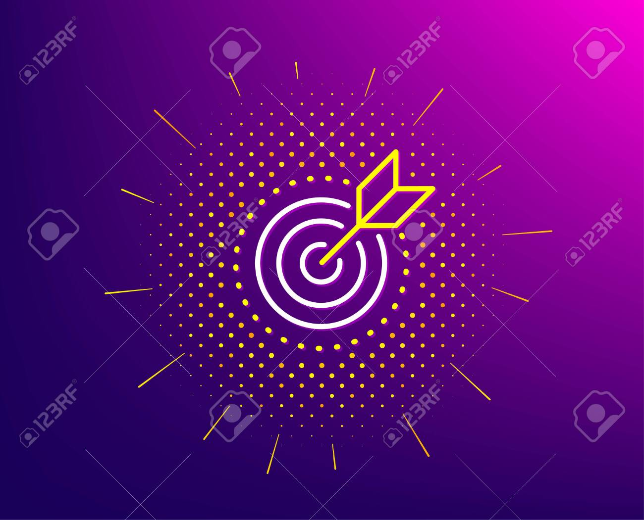 Target purpose line icon. Halftone pattern. Stratery goal sign. Core value symbol. Gradient background. Target purpose line icon. Yellow halftone pattern. Vector - 130388151