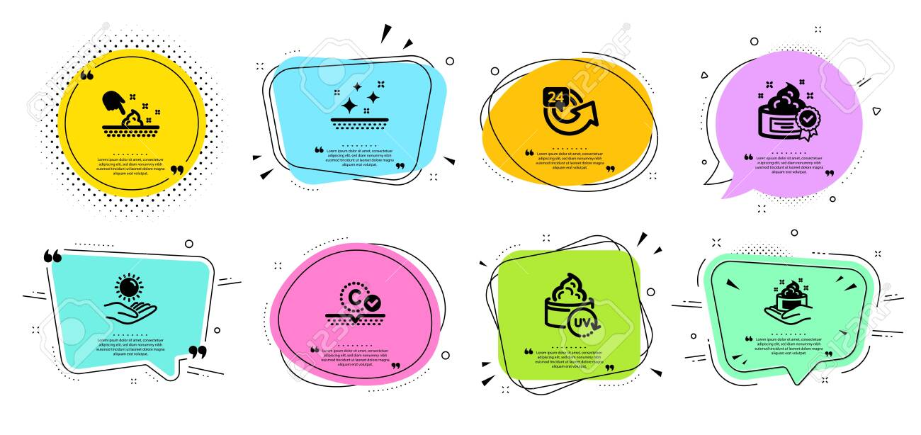 Skin care, Skin moisture and 24 hours line icons set. Chat bubbles with quotes. Uv protection, Sun protection and Cream signs. Hand cream, Repeat. Beauty set. Banner badges vector shapes. Vector - 130388428