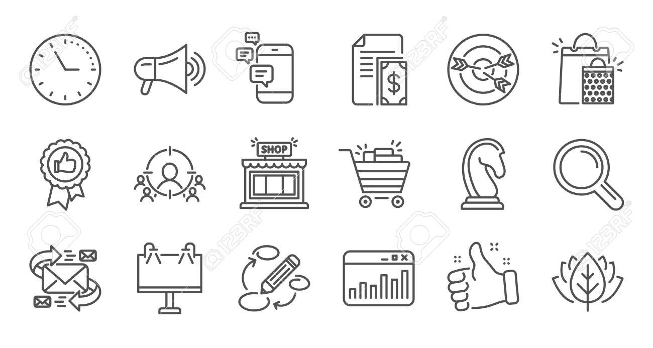 Marketing, research line icons. Strategy, Feedback and Advertising agency. Business strategy linear icon set. Quality line set. Vector - 130388916