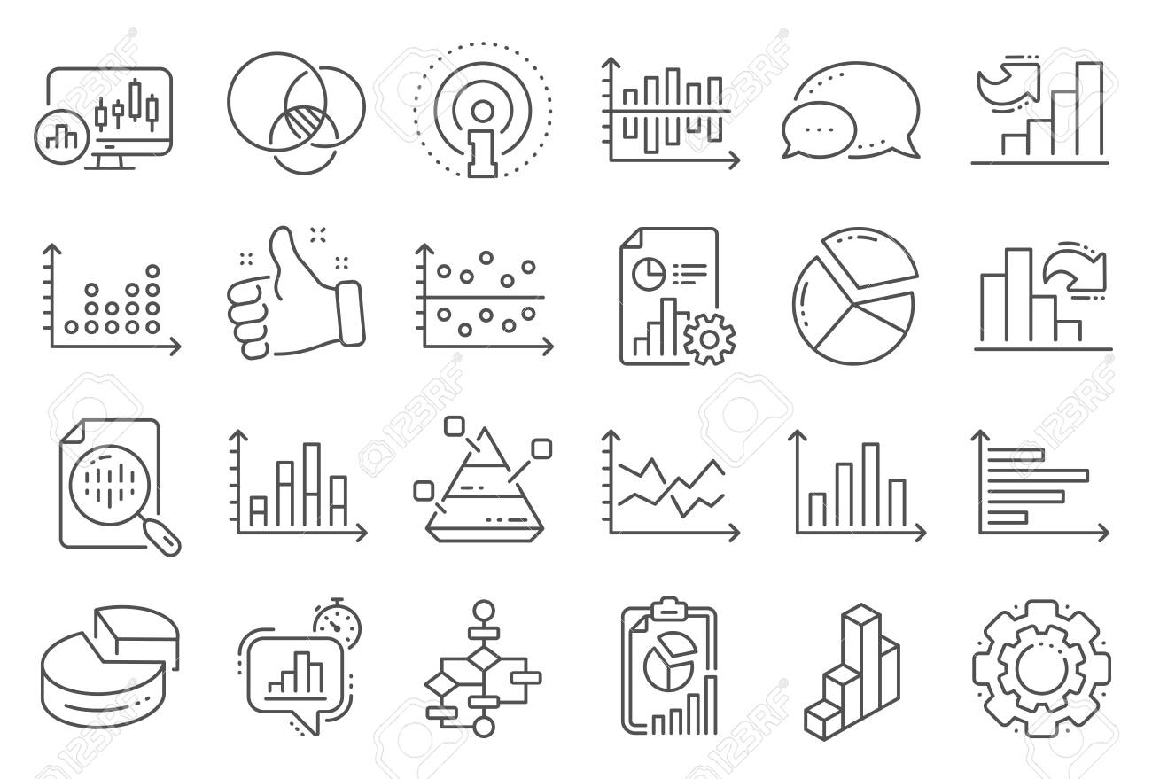 Charts And Diagrams Line Icons. Report [ 879 x 1300 Pixel ]