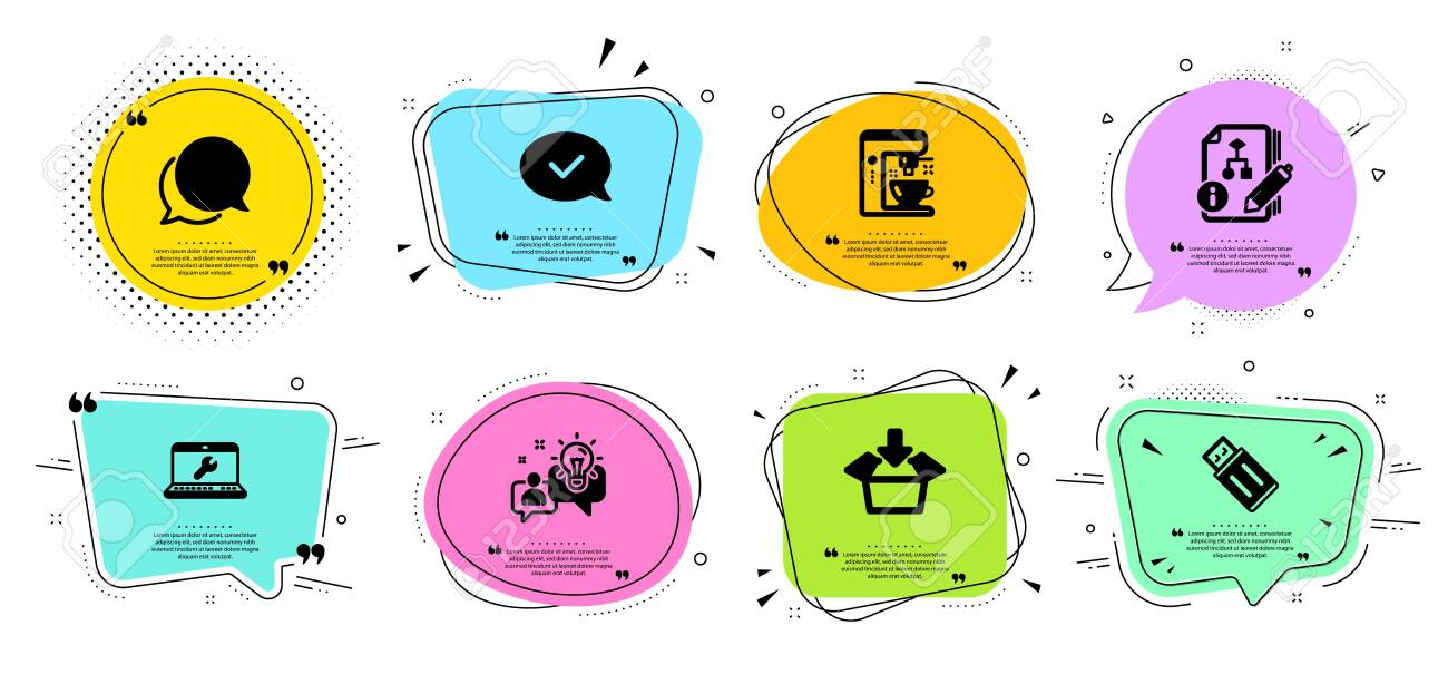 chat message idea and coffee maker line icons set chat bubbles