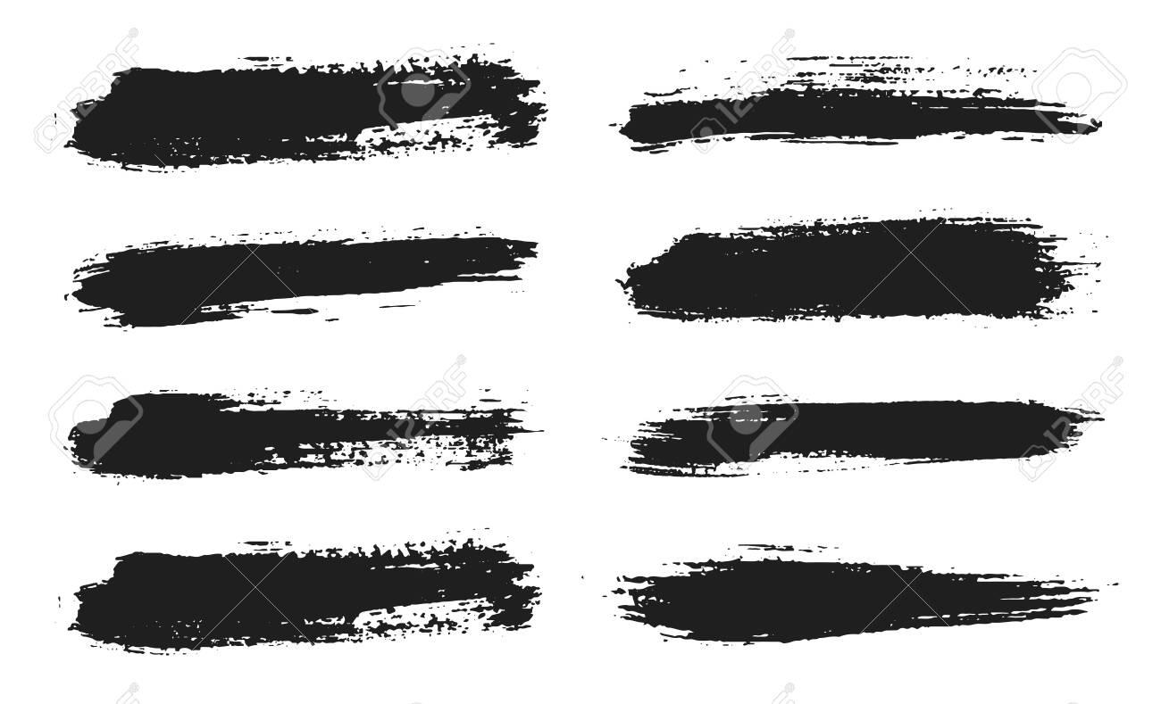 Brush lines set. Vector black paint, ink brush stroke. Dirty artistic design element. Black ink painbrush dash. Grunge drawing stroke. Frame or background for text. Vector set - 131087565