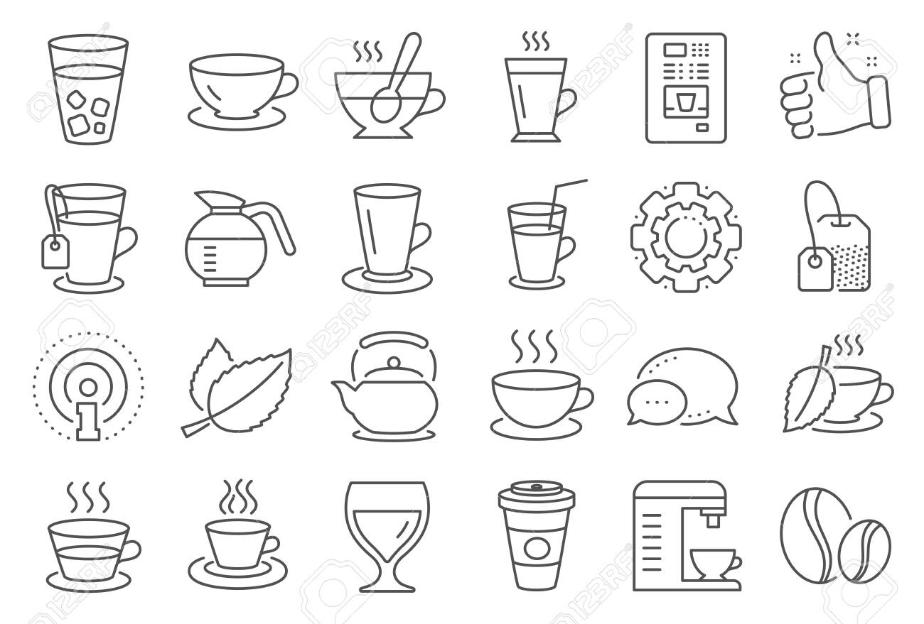 Coffee and Tea line icons. Set of Cappuccino, Juice with ice and Latte coffee cup icons. Teapot, Coffeepot and Hot drink with Steam. Mint leaf tea, Herbal beverage and Vending. Hot latte cup. Vector - 132632533