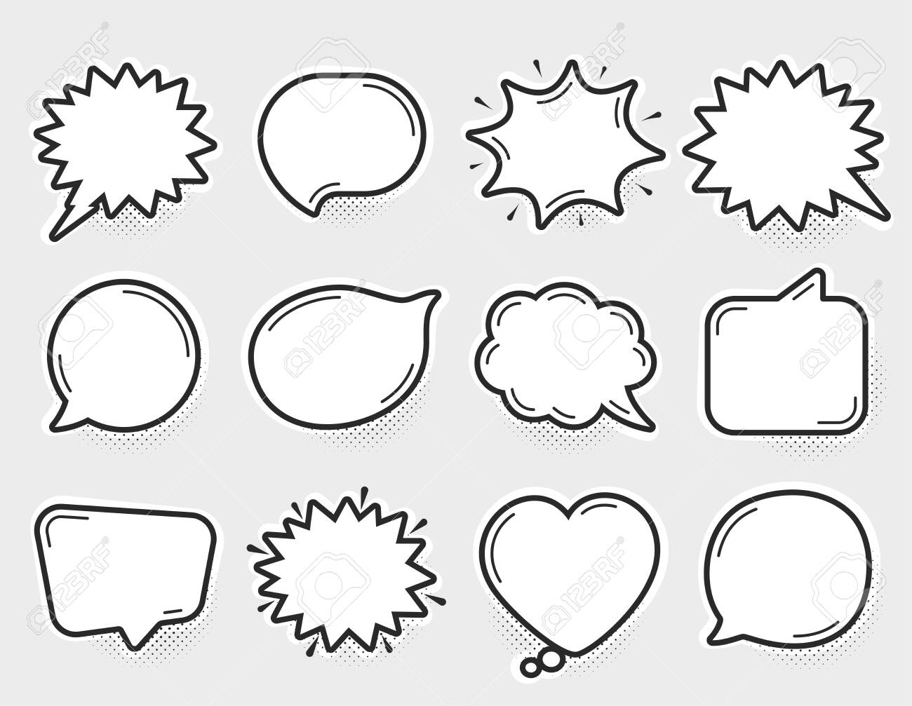 Comic speech bubbles vector. Thinking and speaking clouds. Retro bubbles shapes. Balloons with halftone shadow. Vintage pop art style design. Comic graphic elements. Cartoon badge. Vector balloons - 132763993
