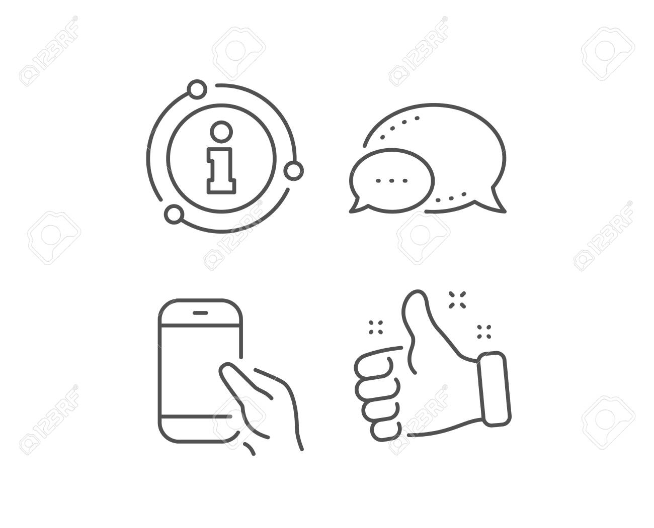 Hold Smartphone icon. Chat bubble, info sign elements. Give Cellphone or Phone sign. Ð¡ommunication Mobile device symbol. Linear hold Smartphone outline icon. Information bubble. Vector - 133836889
