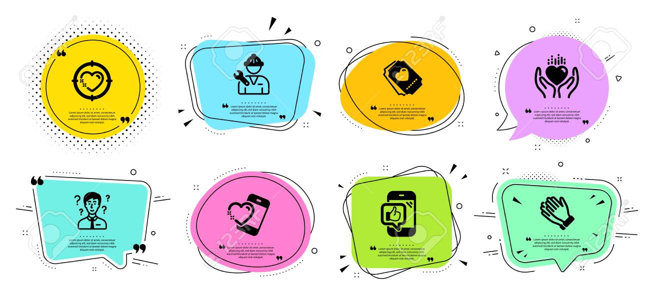 Clapping Hands Repairman And Heart Target Line Icons Set Chat Royalty Free Cliparts Vectors And Stock Illustration Image 140547925