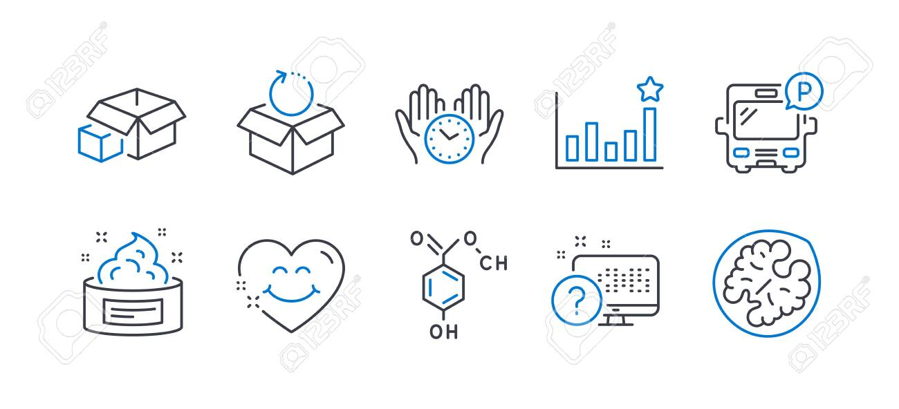Set of Business icons, such as Bus parking, Efficacy, Packing boxes, Return package, Skin cream, Safe time, Chemical formula, Smile face, Online quiz, Walnut line icons. Line bus parking icon. Vector - 134264116