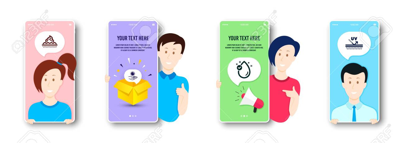 Vitamin e, Sun protection and Skin care icons simple set. People on phone screen. Uv protection sign. Oil drop, Ultraviolet care, Face cream. Skin cream. Beauty set. Vector - 135249924