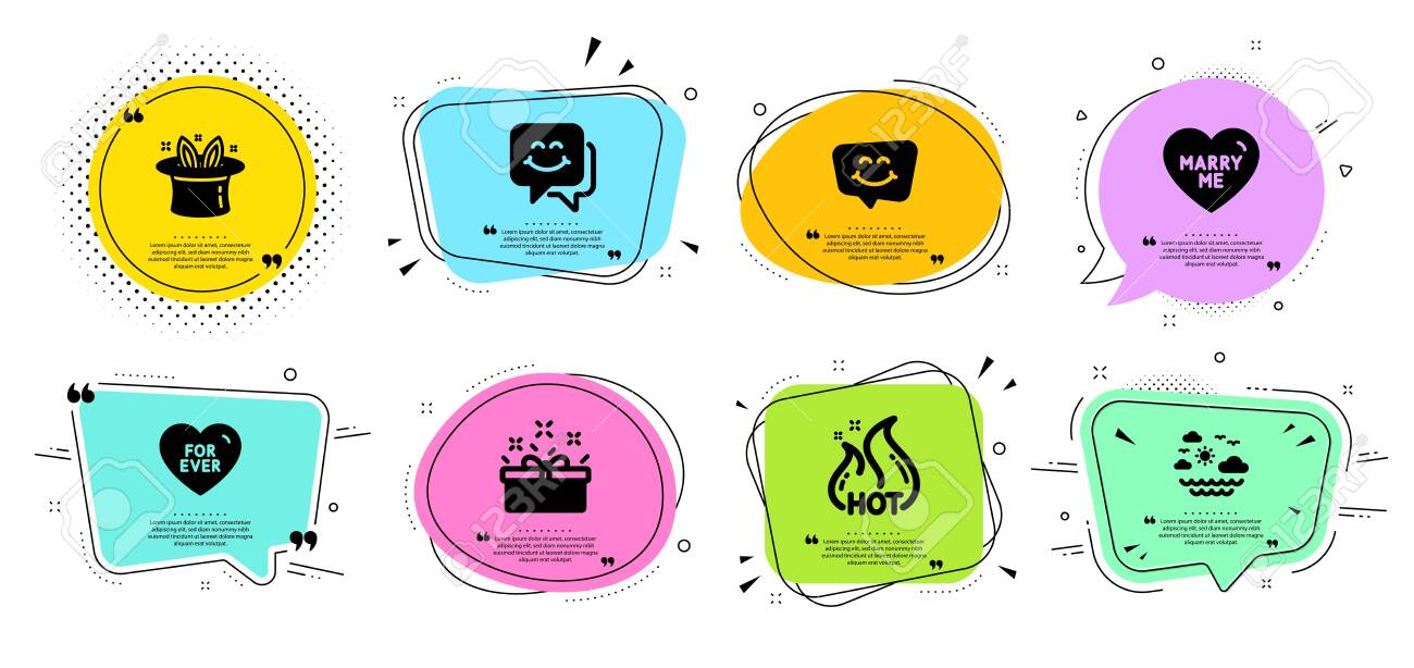 marry me hat trick and travel sea line icons set chat bubbles