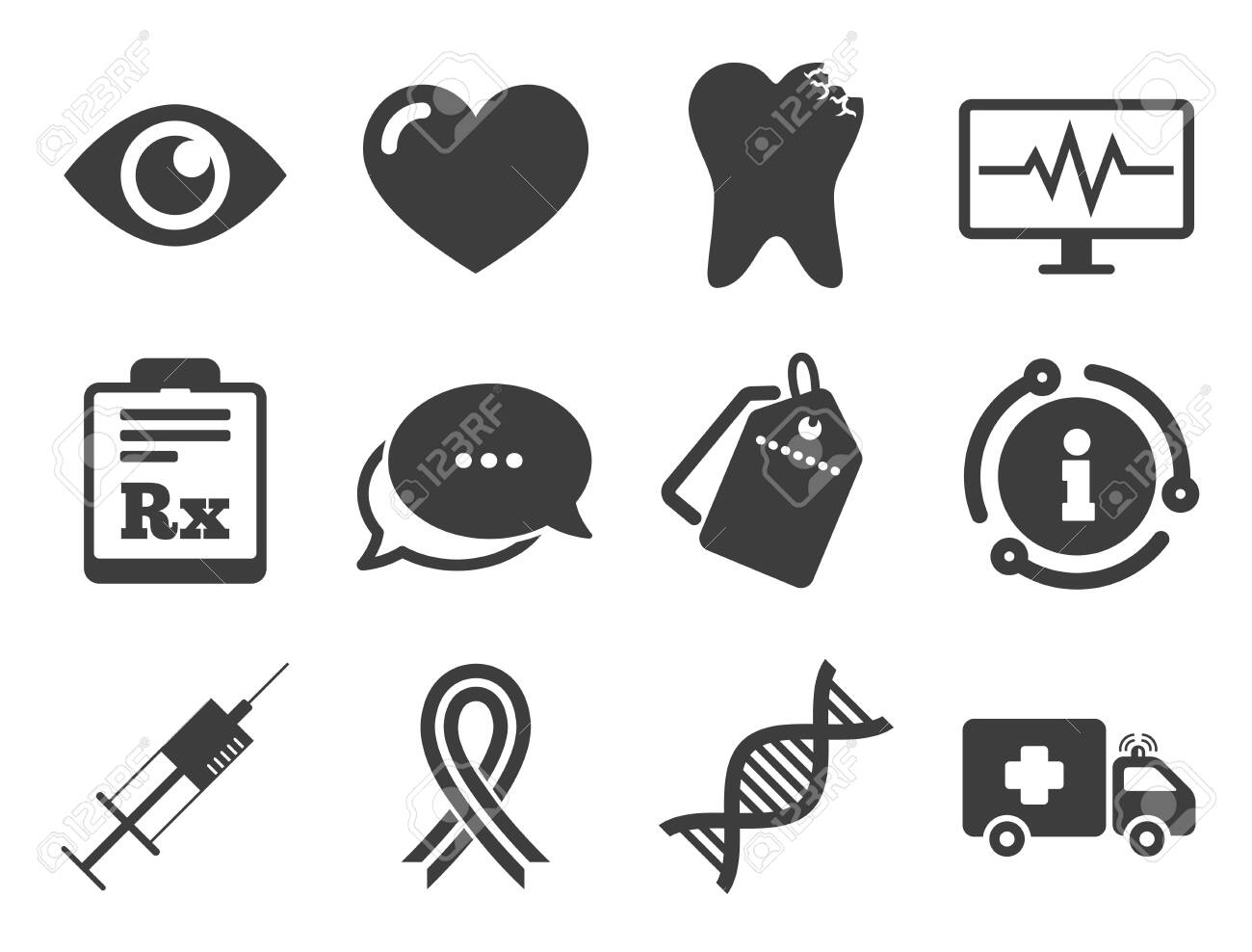 Tooth, syringe and ambulance signs. Discount offer tag, chat, info icon. Medicine, healthcare and diagnosis icons. Dna, awareness ribbon symbols. Classic style signs set. Vector - 135673212
