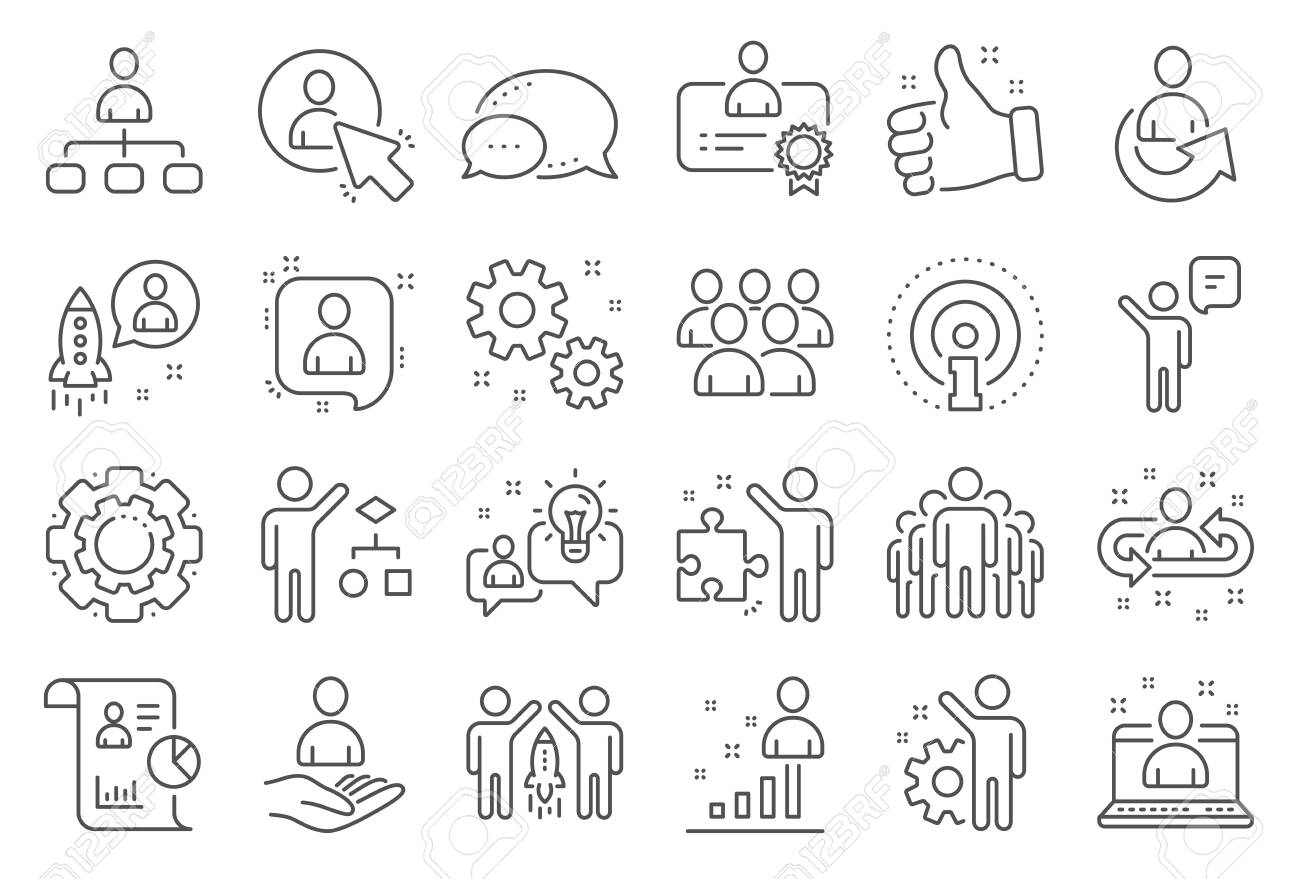 Management line icons. Set of Business audit, Startup strategy and Employee icons. Business strategy, Startup and Teamwork. Organization management, report and group algorithm. Employee job. Vector - 136205168