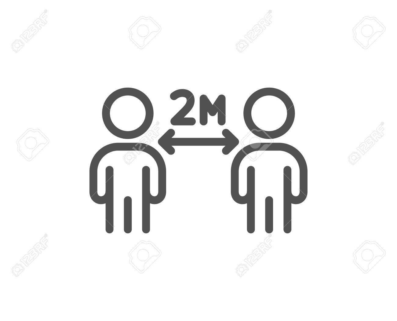 Social distancing line icon. 2 meters distance between sign. Coronavirus pandemic symbol. Quality design element. Editable stroke. Linear style social distancing icon. Vector - 143735123
