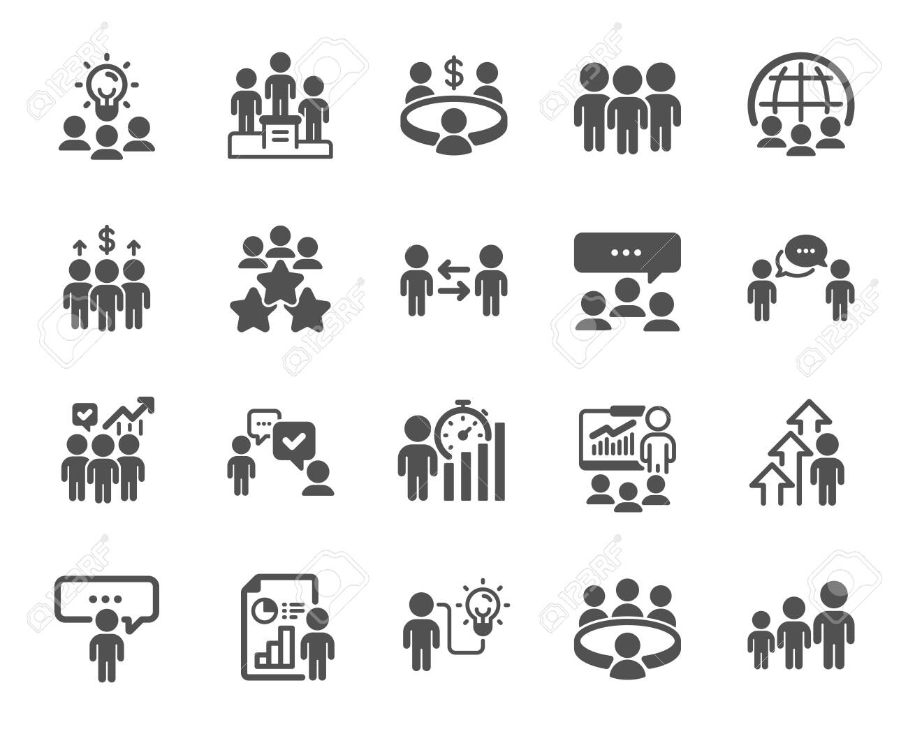 Meeting icons. Conference, seminar, classroom. Team, work and business idea icons. Discussion, classroom job, people management. Presentation, office meeting, consultation. Vector - 147253221
