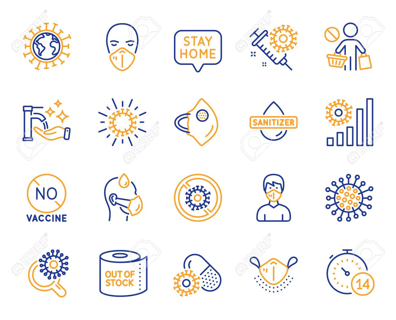 Coronavirus line icons. Medical protective mask, hands sanitizer, no vaccine. Stay home, washing hands hygiene, coronavirus epidemic mask icons. Covid-19 virus pandemic, toilet paper panic. Vector - 148201258