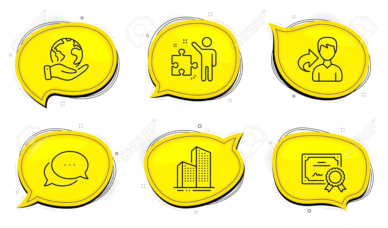 Strategy sign. Diploma certificate, save planet chat bubbles. Share, Dots message and Skyscraper buildings line icons set. Male user, Chat bubble, Town architecture. Business plan. Vector - 152611186