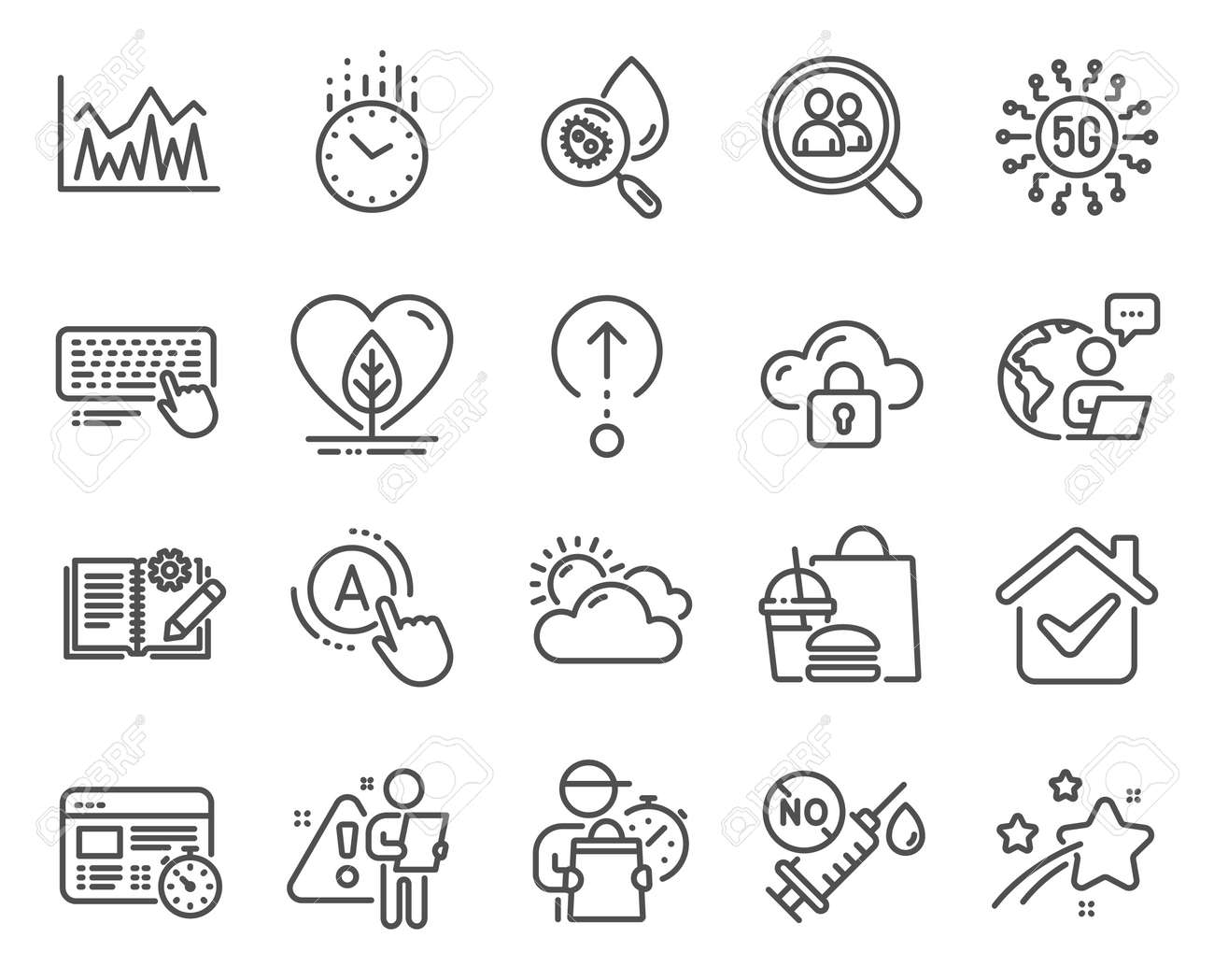 Science icons set. Included icon as Computer keyboard, Investment, Coronavirus vaccine signs. Time, Swipe up, Web timer symbols. Local grown, Water analysis, Search employees. Ab testing. Vector - 156688091