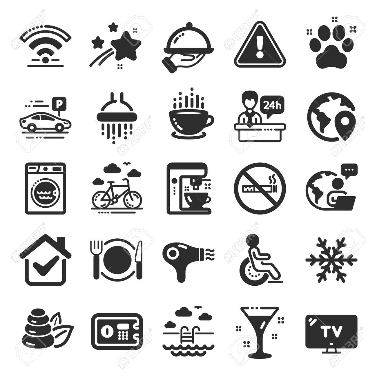 Hotel service icons. WiFi, Air conditioning and Coffee maker machine. Spa stones, swimming pool and bike rental icons. Hotel parking, safe and shower. Food, coffee cup. Flat icon set. Vector - 159838533