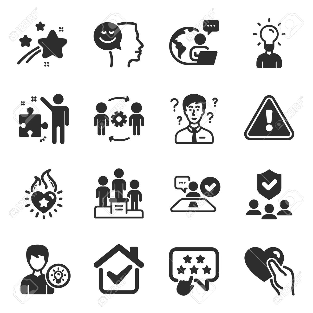 Set of People icons, such as Good mood, Support consultant, Person idea symbols. Heart flame, Ranking star, Security agency signs. Business podium, Education, Strategy. Hold heart. Vector - 165434230