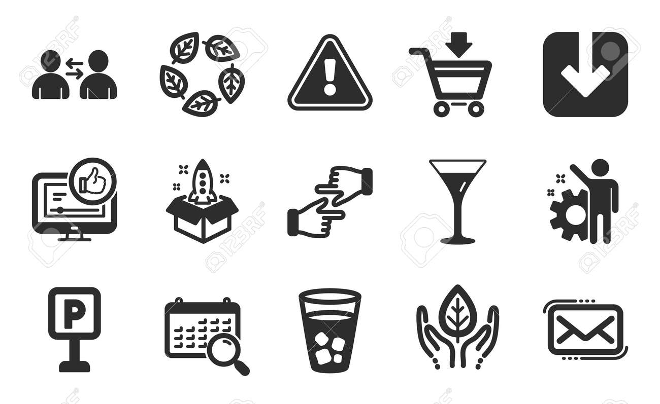 Martini glass, Search calendar and Communication icons simple set. Load document, Ice tea and Like video signs. Organic tested, Messenger mail and Fair trade symbols. Flat icons set. Vector - 167133083