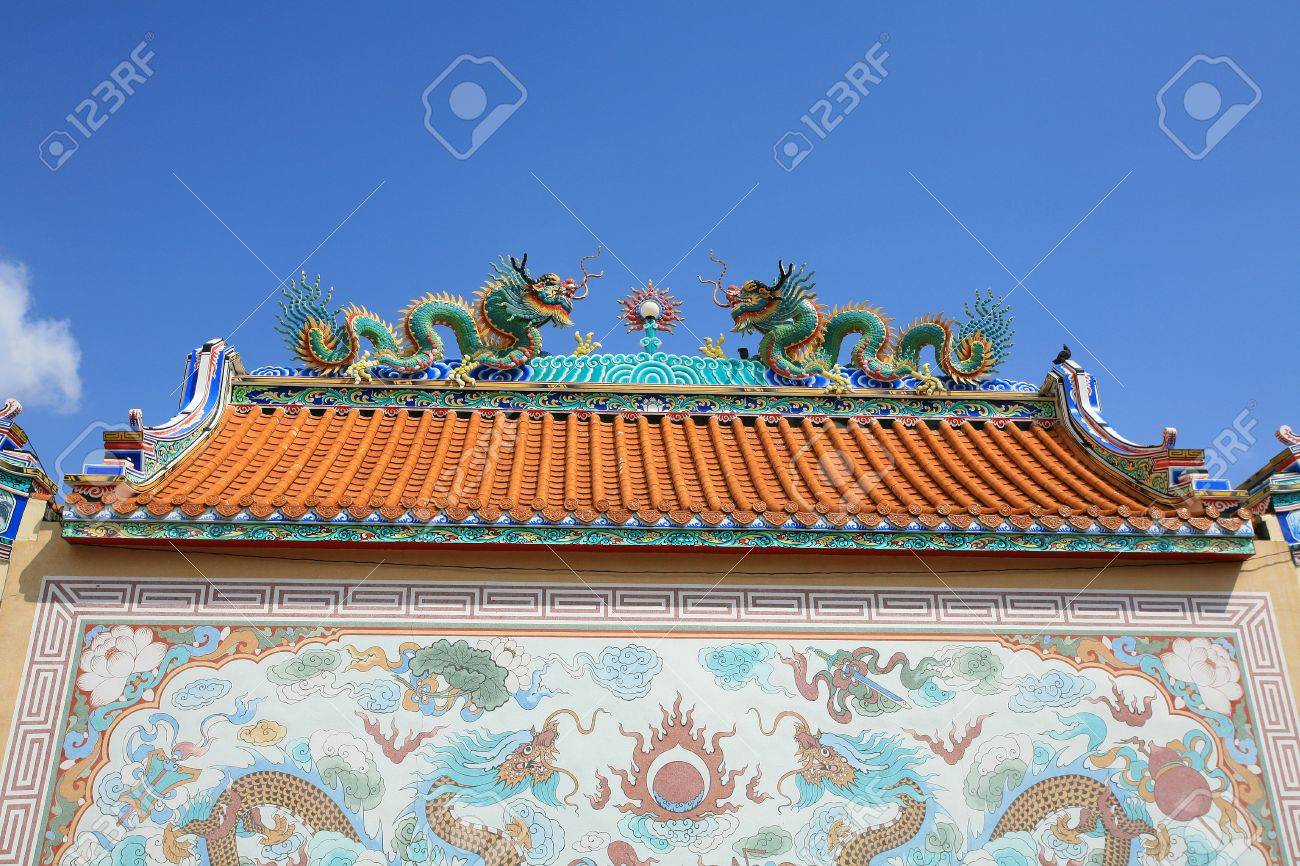 Ornament detail of twin dragons on the chinese temple roof and painting wall Stock Photo  sc 1 st  123RF Stock Photos & Ornament: Detail Of Twin Dragons On The Chinese Temple Roof And ... memphite.com