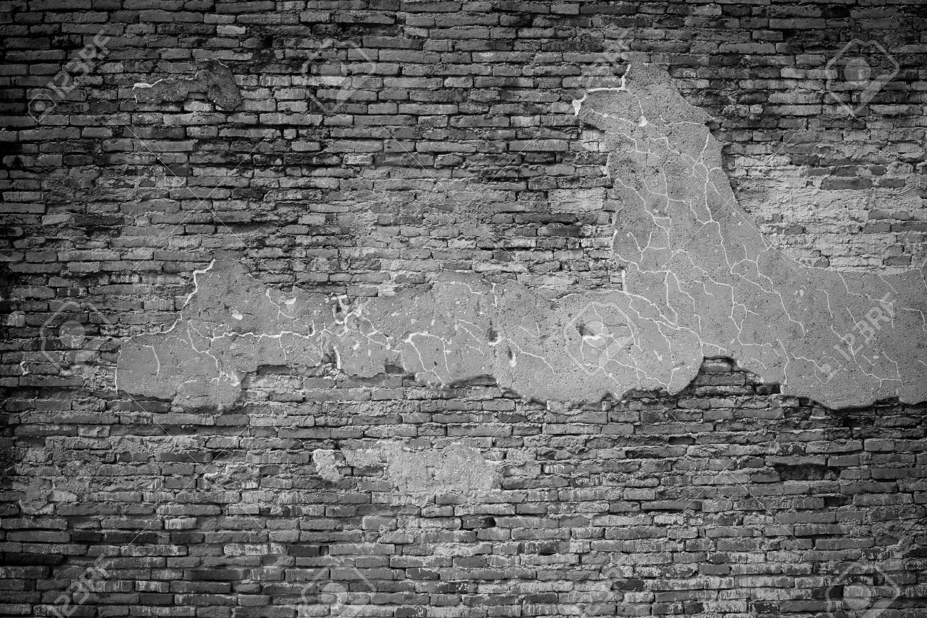 Black And White Texture Old Brick Wall Pattern Stock Photo
