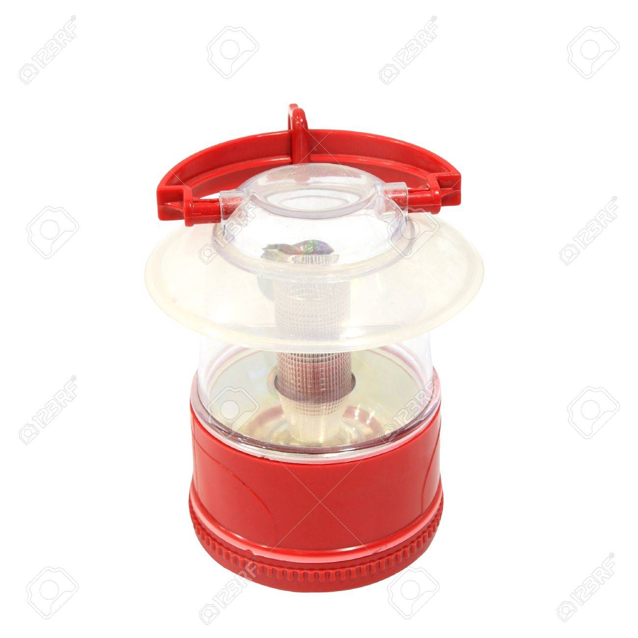 Red oil lamp with holder isolated on white backgroud Stock Photo - 15123091