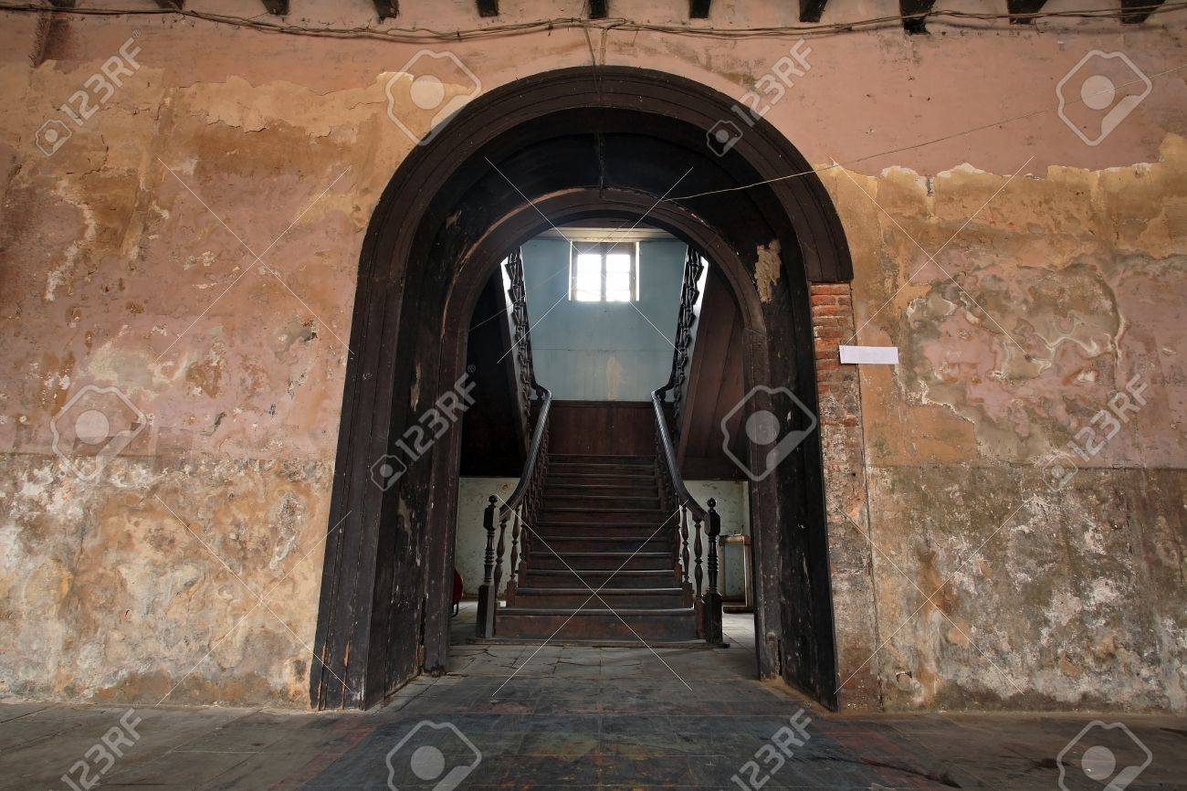 Main entrance to antique wooden stairs in old building Stock Photo - 18634035