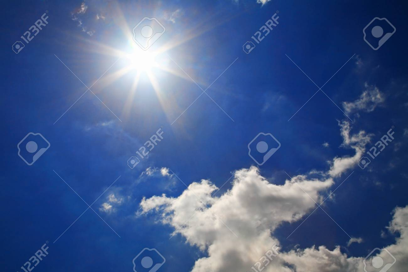 Strong sun and beautiful clouds at sky Stock Photo - 20722014