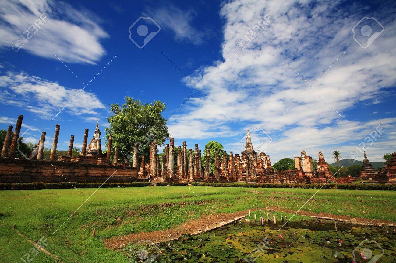 Sukhothai historical park - landscape of wat Mahathat against blue sky, Thailand Stock Photo - 21608425