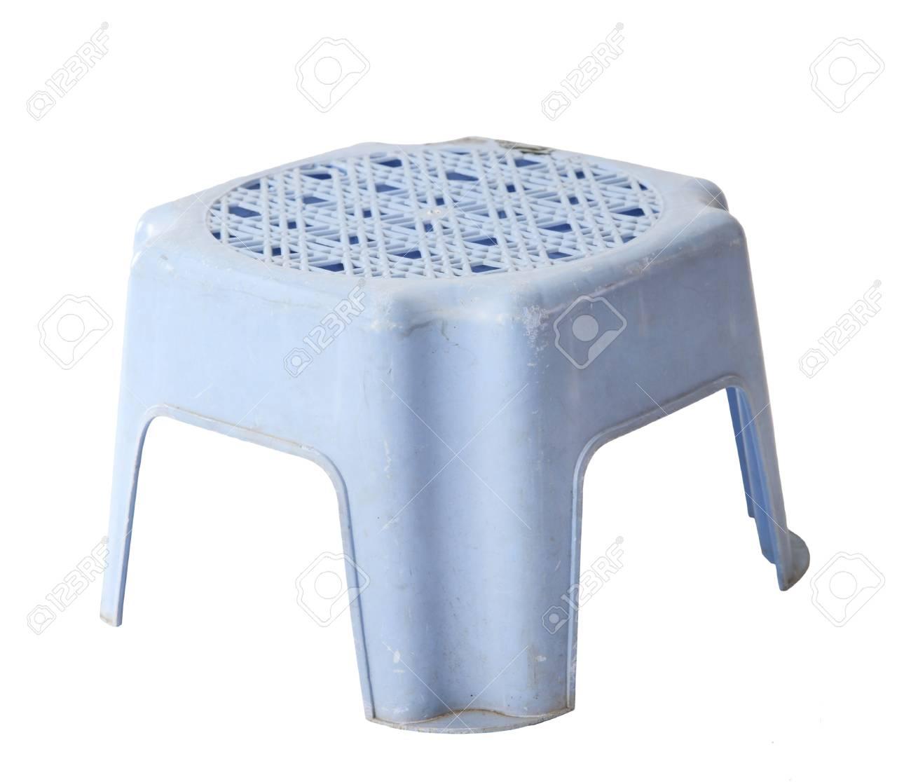 Sgabello Di Plastica.Mini Vecchio Sgabello Di Plastica Blu Isolato Su Priorita Bassa Bianca