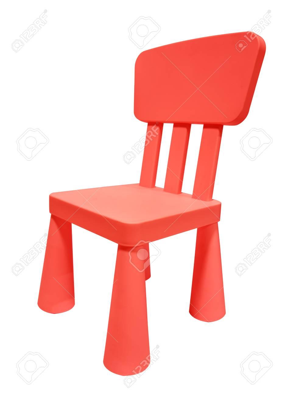 Chaise En Plastique Rouge Ou Un Tabouret Isol Sur Fond Blanc Banque