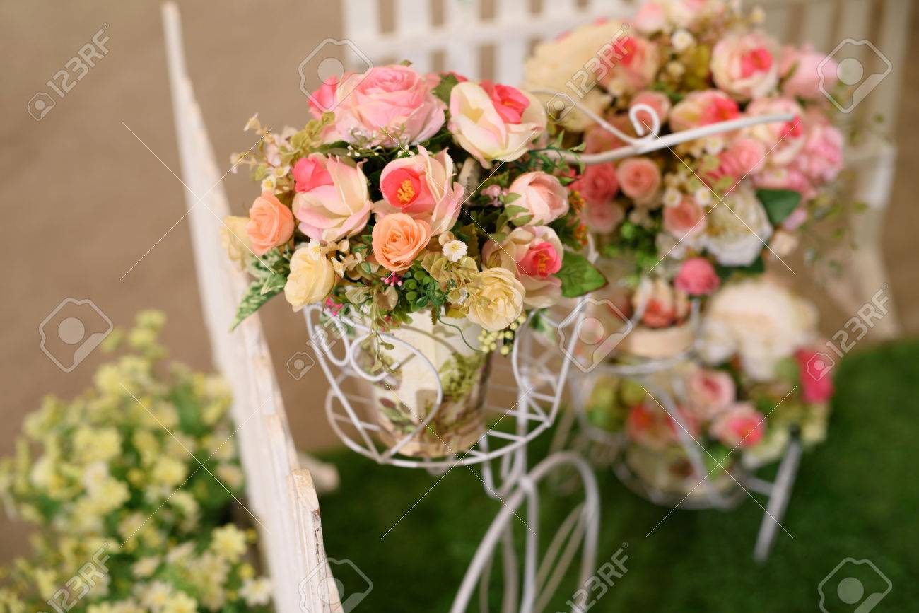 Wedding Arrangement. Fake Flower Bouquet On Bike Stock Photo ...