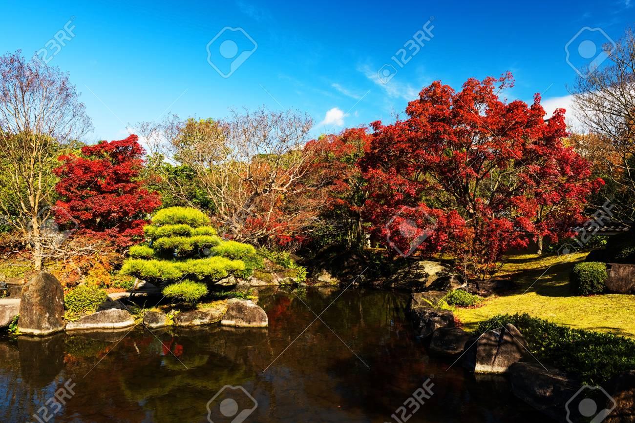 Kokoen Autumn Foliage Garden With Reflection In Himeji, Japan Stock ...