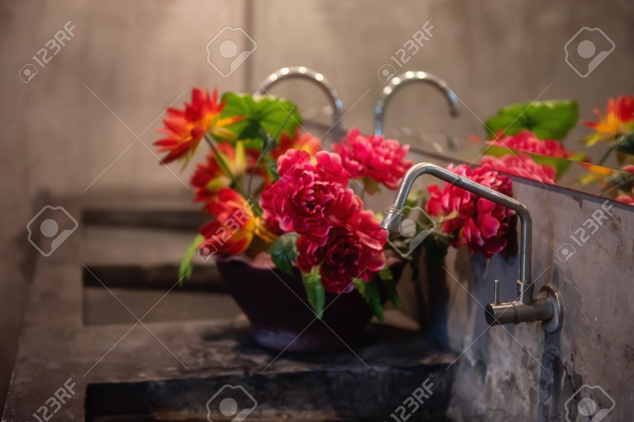 Modern Bathroom Or Toilet Counter With Faucet Vase And Artificial Stock Photo Picture And Royalty Free Image Image 109237726