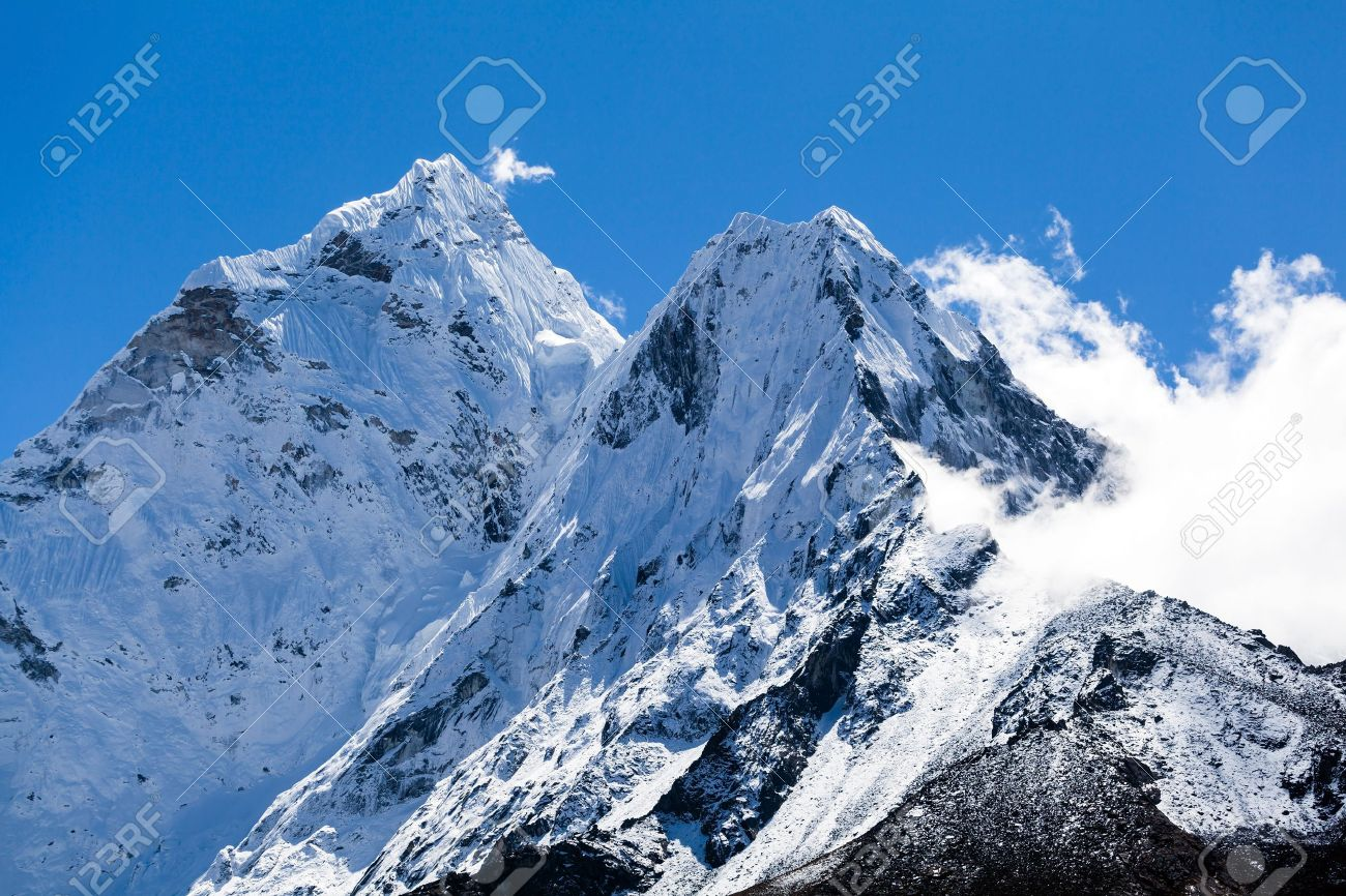 Mount Ama Dablam In Himalaya Mountains, Nepal Stock Photo, Picture ...