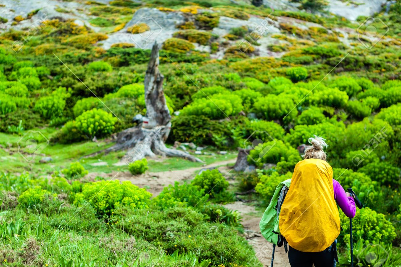 Woman Hiking With Backpack In Mountains Corsica France Adventure