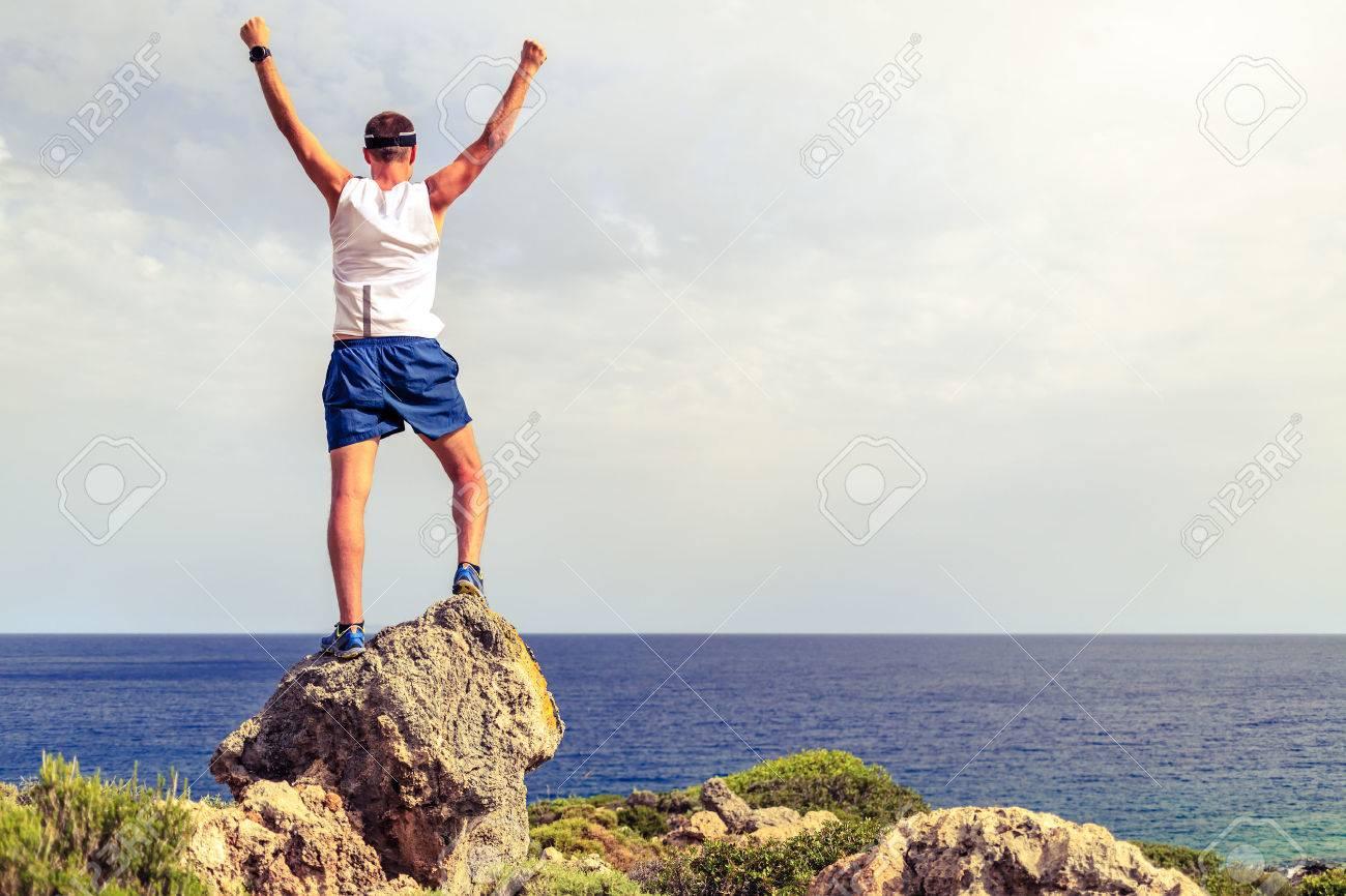 Acomplishment happy trail runner success running or hiking achievement accomplishment..