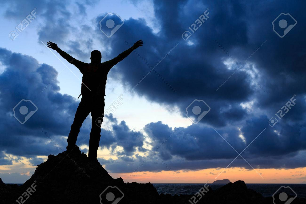 accomplishments stock photos pictures royalty accomplishments success achievement silhouette hiking accomplishment business concept man celebrating arms up raised