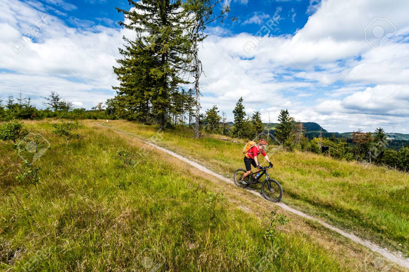 Mountain biking man riding on bike in summer inspirational mountains landscape. Rider cycling MTB on enduro trail path. Sport fitness motivation and inspiration. Rider mountain biker in summer woods. - 62713759