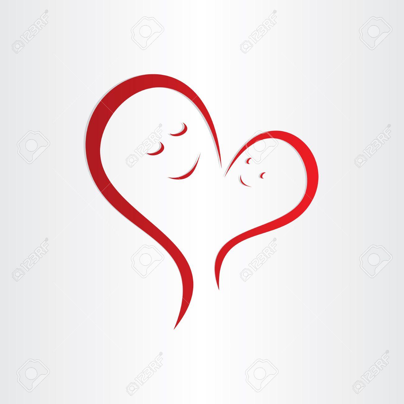 Mütter Lieben Symbol Mutter Und Baby Herz-Form-Verbindung Lizenzfrei ...