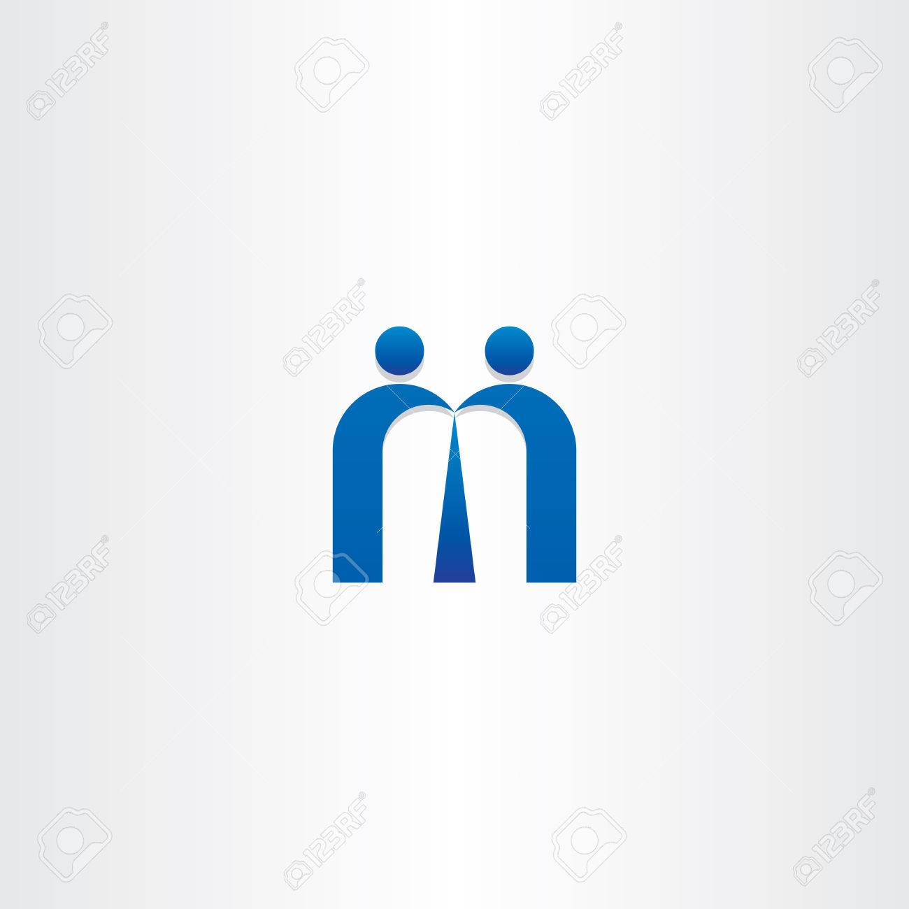 Blue Letter M People Business Icon Design Royalty Free Cliparts